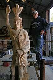 Cory Worden and his carving of Kaw-liga in progress